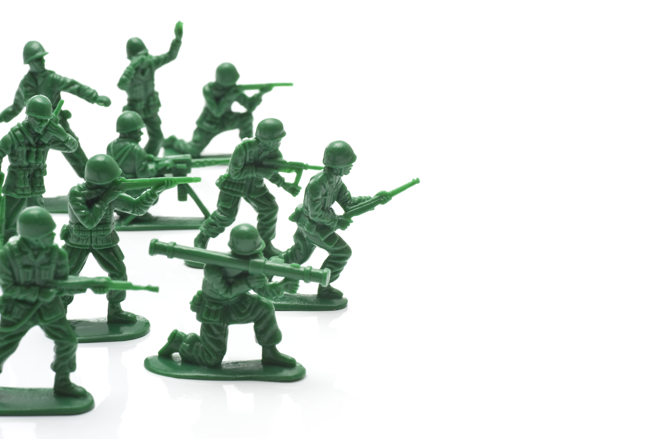 Toy of a lot of soldiers in white background