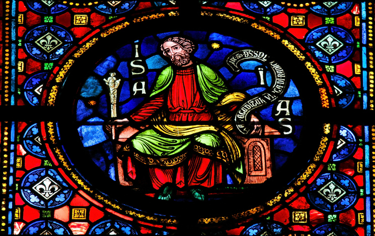 Stained glass window depicting the prophet Isaiah in the cathedral of Dinant, Belgium. This window was created in 1821, no property release is required.